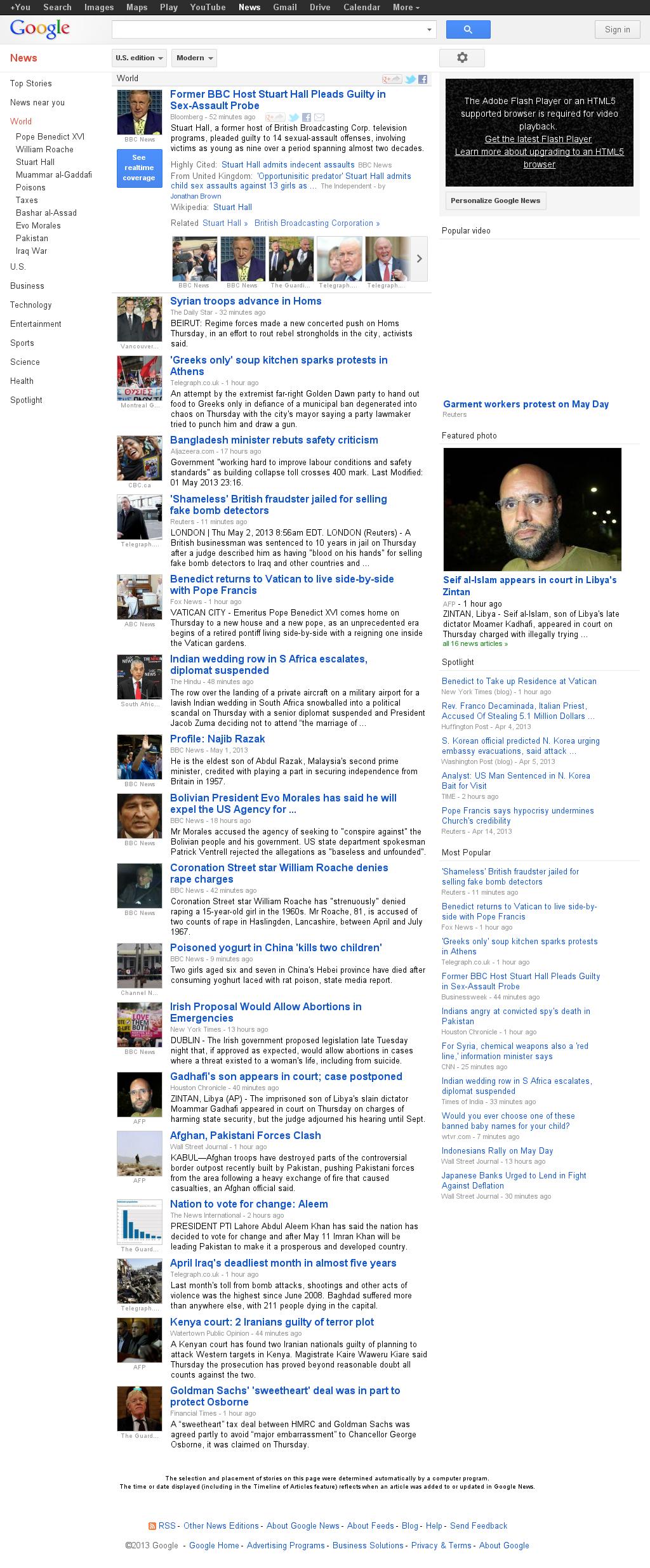 Google News: World at Thursday May 2, 2013, 1:10 p.m. UTC