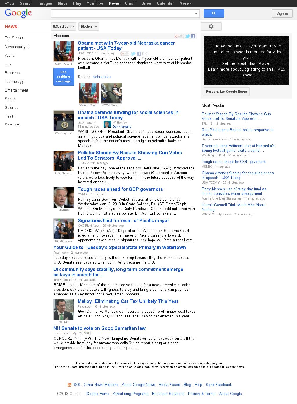 Google News: Elections at Monday April 29, 2013, 9:07 p.m. UTC
