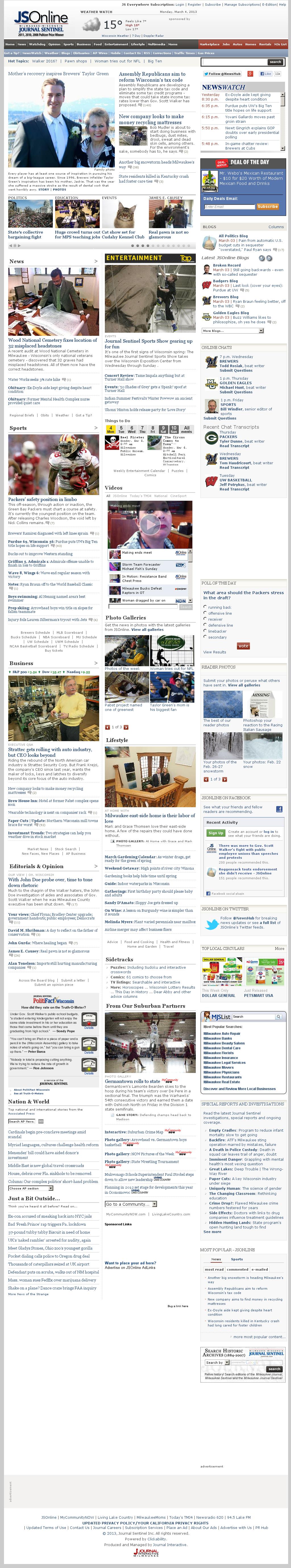 Milwaukee Journal Sentinel at Monday March 4, 2013, 10:11 a.m. UTC