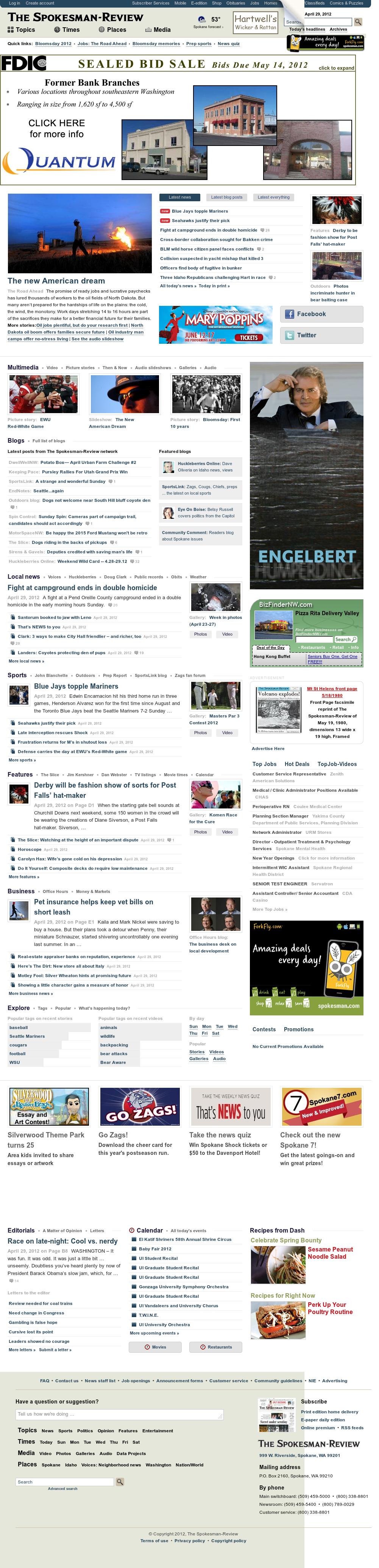 The (Spokane) Spokesman-Review at Monday April 30, 2012, 6:11 a.m. UTC