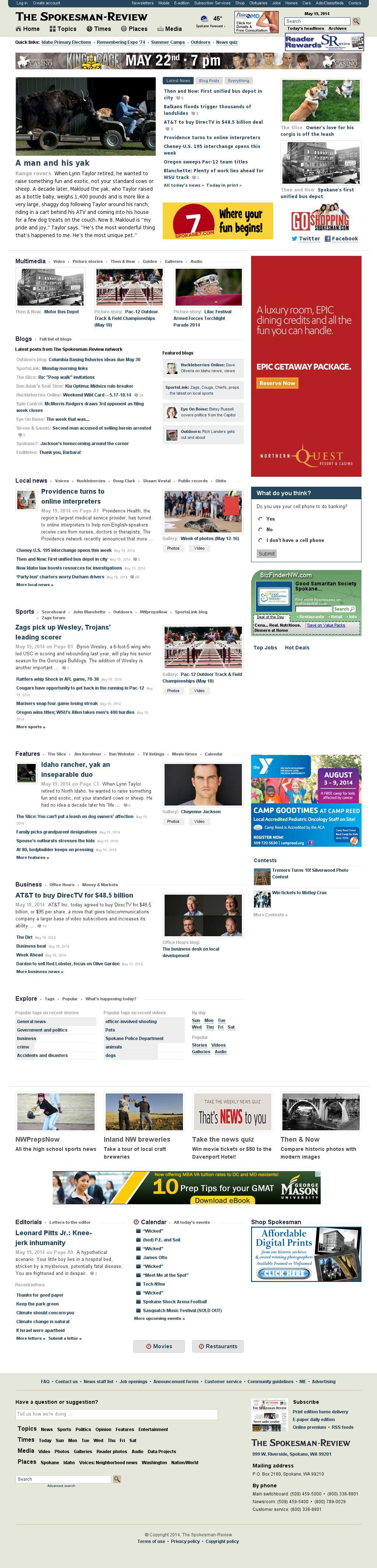 The (Spokane) Spokesman-Review at Monday May 19, 2014, 2:20 p.m. UTC