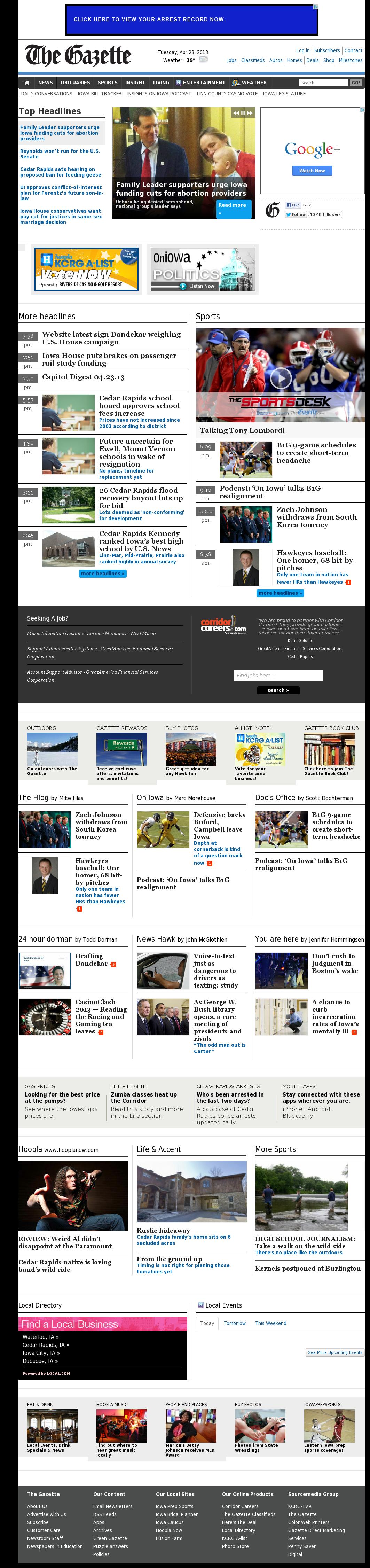 The (Cedar Rapids) Gazette at Wednesday April 24, 2013, 3:08 a.m. UTC
