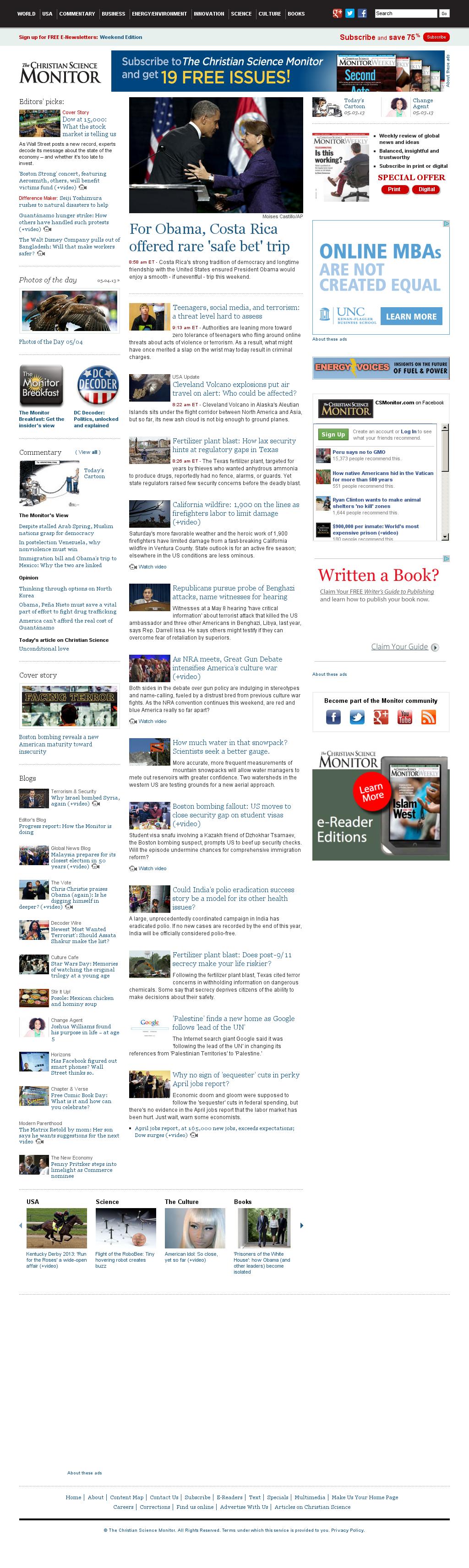 The Christian Science Monitor at Sunday May 5, 2013, 2:04 p.m. UTC