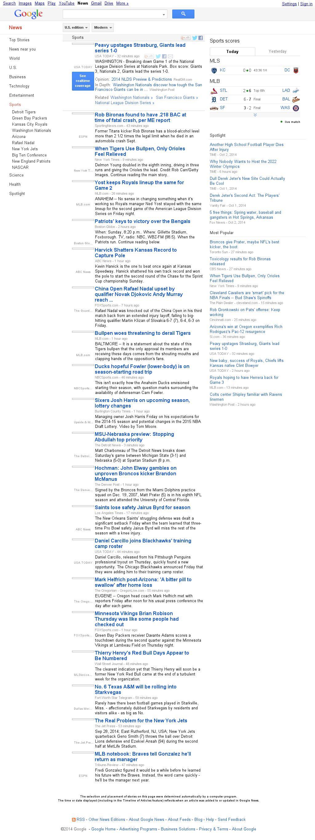 Google News: Sports at Saturday Oct. 4, 2014, 1:10 a.m. UTC