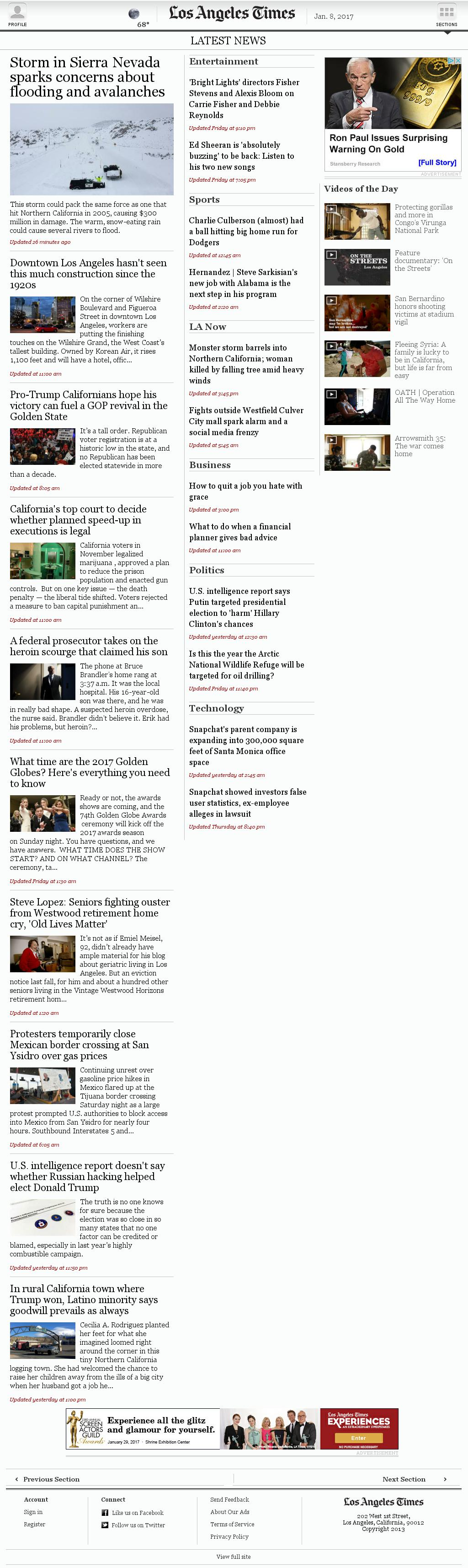 Los Angeles Times at Sunday Jan. 8, 2017, 6:16 p.m. UTC