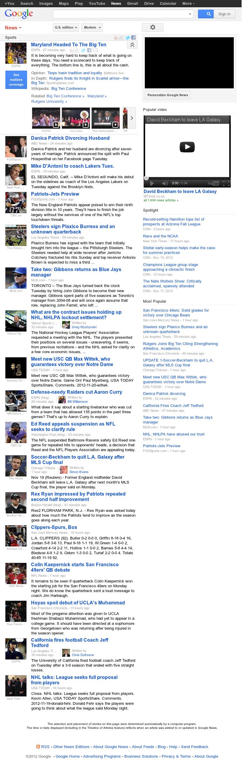 Google News: Sports at Tuesday Nov. 20, 2012, 9:12 p.m. UTC