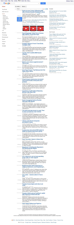 Google News: World at Wednesday Nov. 25, 2015, 1:09 a.m. UTC