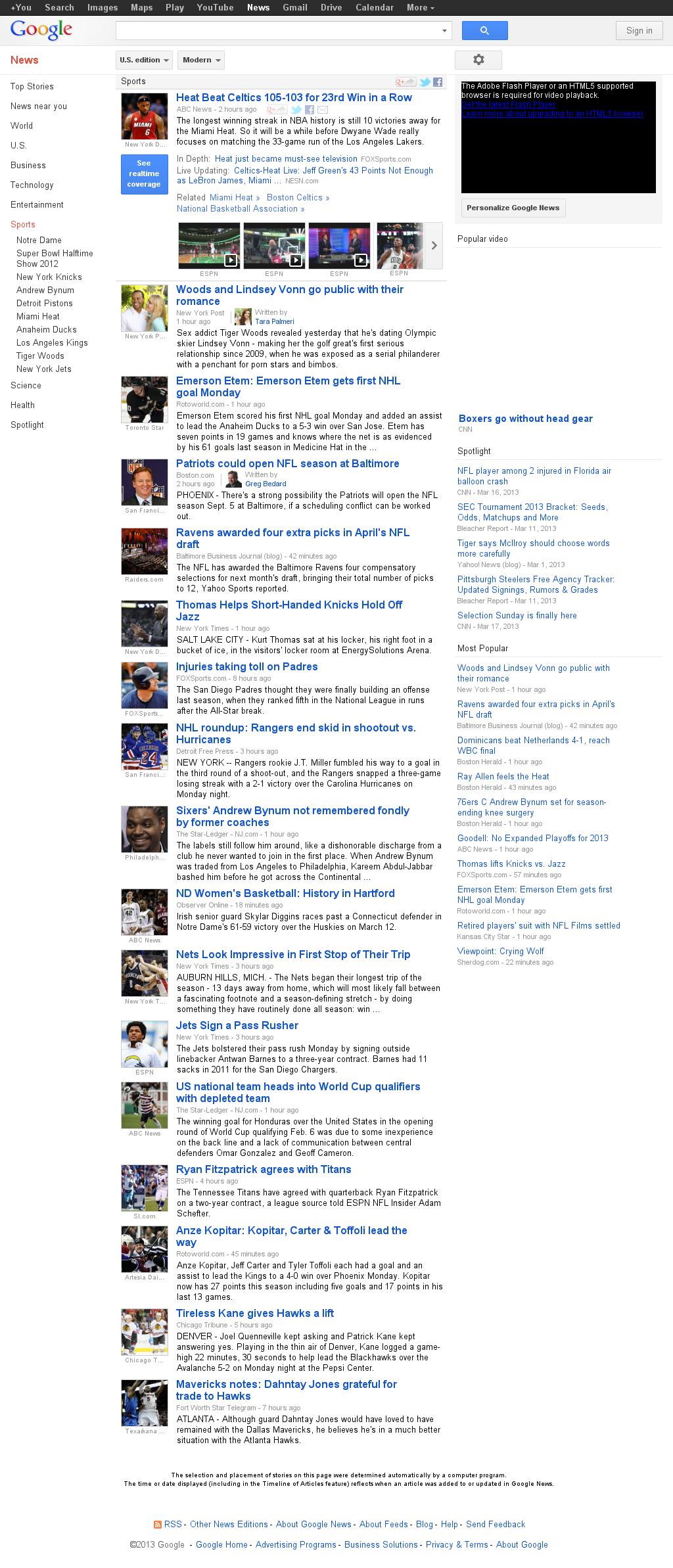 Google News: Sports at Tuesday March 19, 2013, 10:10 a.m. UTC