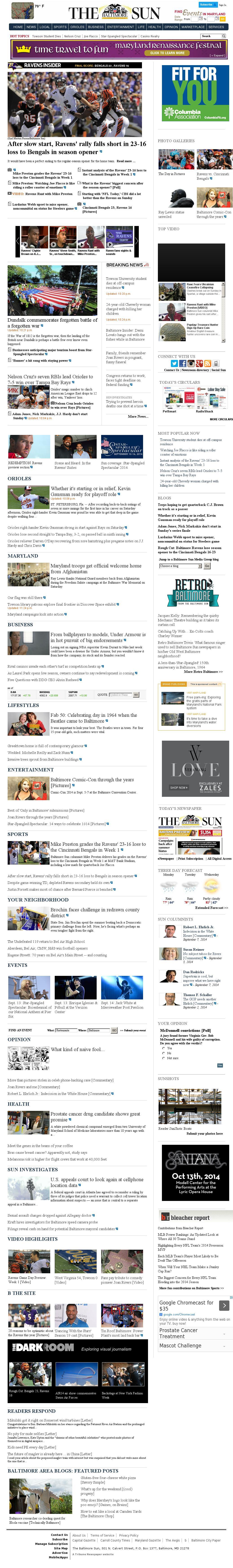 The Baltimore Sun at Monday Sept. 8, 2014, 5 a.m. UTC