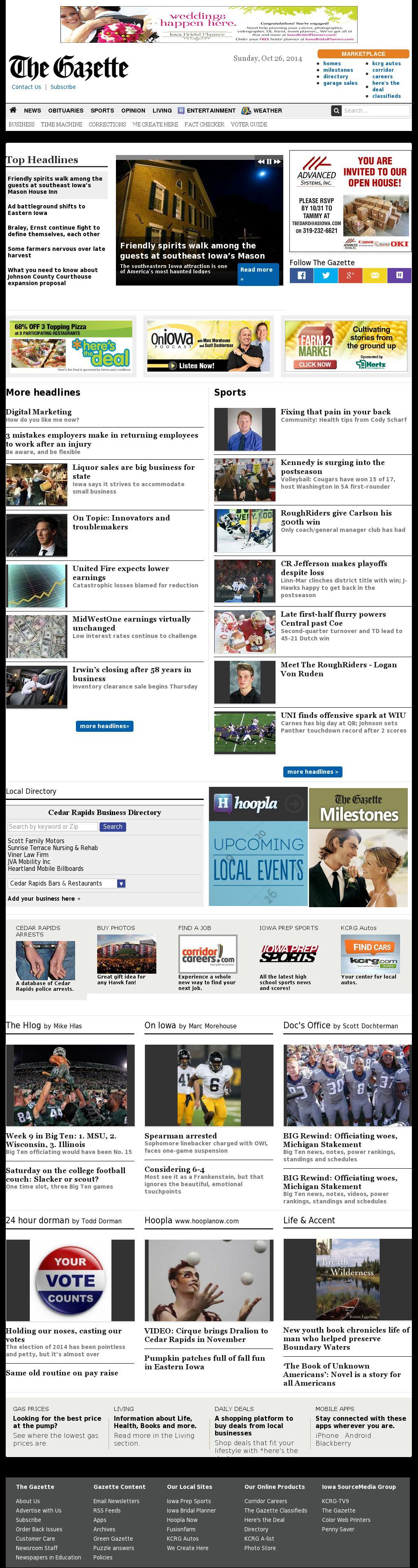The (Cedar Rapids) Gazette at Sunday Oct. 26, 2014, 9:06 p.m. UTC