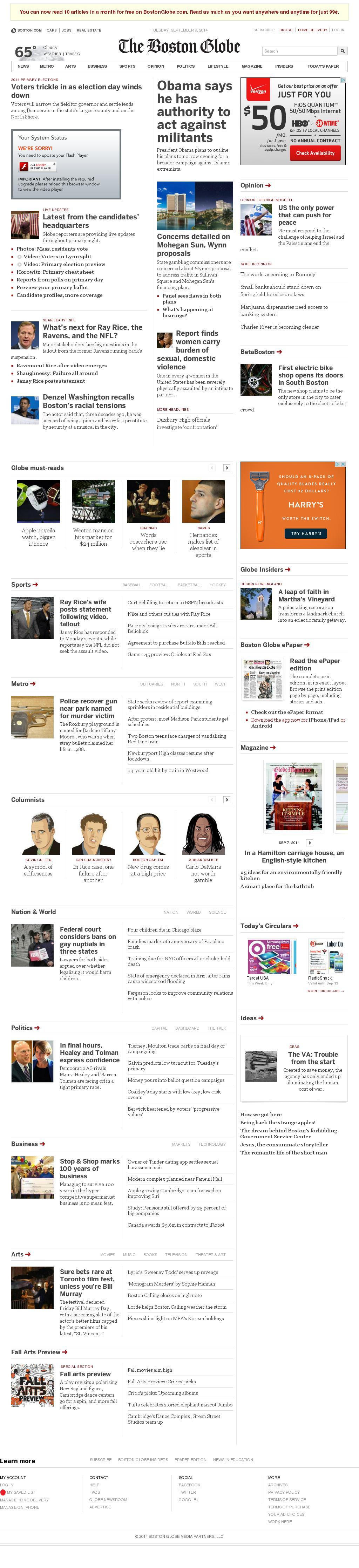 The Boston Globe at Tuesday Sept. 9, 2014, 11:01 p.m. UTC